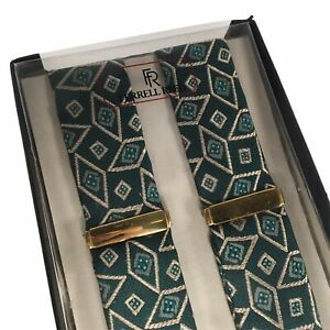 Ferrell Reed Silk Suspenders Green Geometric Diamond Pattern NOS w/ Box 07B Vtg