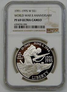1991-1995 World War II Anniversary Proof Commemorative Silver $1 - NGC PF 69 UC
