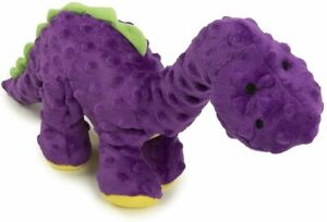 "Godog Bruto Purple Dinosaur With chew guard 14"" plush dog toy squeaker Large"