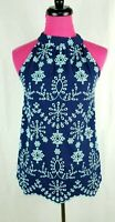 NWOT STS Sail to Sable Sleeveless Blouse Top Size XS Womens Blue Floral Eyelet