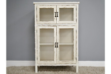 Rustic Wooden Cabinet - Distressed Vintage Ornate Storage Aged Tall Cupboard