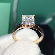 Princess Moissanite Solitaire 2.10Ct Engagement Ring 10K Solid Yellow Gold