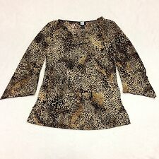 STUDIO 1940 Womens Size Large Animal Print Top Cowl Neck Long Sleeve Leopard