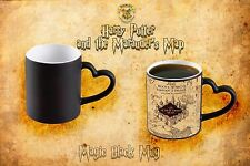 Harry Potter Marauder's Map Color Changing Black Heart Coffee Mug heat sensitive