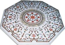4'X4' White Marble center Table Top Inlay Handmade Home Decor malachite Gifts