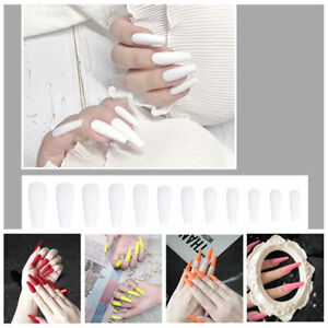 20Pcs French Fake Nails Full Cover Stiletto Tips Press Long False Glue Coffin US