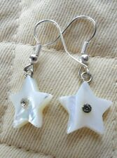 Dangle earrings - Mother-of-Pearl stars with crystal