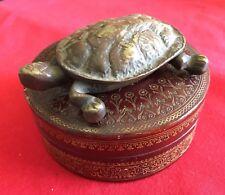 Bronze Vintage Turtle And Italian Round Leather Box - Estate Items