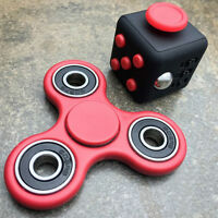 NEW Fidget Cube + Hand Spinner Anxiety Stress Relief Focus Desk Gift Adults Kids