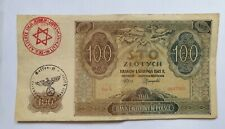 More details for 🍀 🇵🇱 poland. genuine occupation currency note 100 zloty (1941) litzmannstand