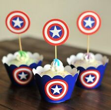 Cupcake Cup Cake Decorating,Toppers Wrappers PARTY DECORATION, America Captain