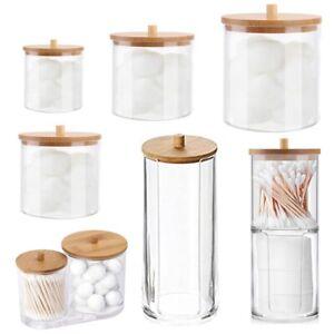 Acrylic Holder Dispenser  Bathroom Jar with Bamboo Lid,Cotton Ball Pad Swab