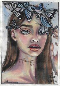 original painting A5 302LN art watercolor female portrait with butterflies