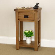 Rustic Oak Small Hall Console Table - 1 Drawer Narrow Slim Side Telephone - RS41