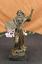 Echt Bronze Moses Halten die Zehn Gebote Statue Skulptur Figur Dekor