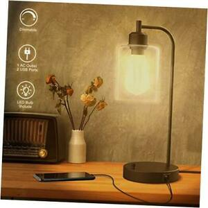 Industrial USB Table Lamp Stepless Dimmable Bedside Table Lamp with 2 USB