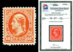 Scott 275 1895 50c Orange Jefferson Issue Mint F-VF HR Cat $240 with PSE CERT!