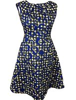 Real Form London Size 12 Fit & Flare Tea Dress Short Sleeve Blue Black & Yellow