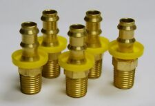 "Brass Fittings: Hose Stayput Barb, Hose ID 3/8"", Male Pipe 1/2"" Qty. 5"