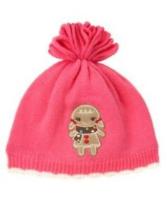 GYMBOREE WINTER CHEER PINK GINGERBREAD COOKIE POM SWEATER HAT 0 12 24 NWT