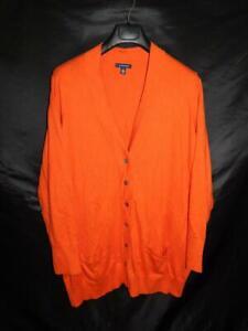 Lands End 3X Orange Cardigan Sweater V Neck Button Pockets Cotton Cashmere 26W