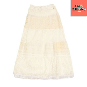 MISS GRANT ETE Lace A-Line Skirt Size 10Y Fringed Hem Elasticated Waist