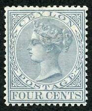 Ceylon SG122 4c Grey Wmk Crown CC Perf 14 Mint (no gum)