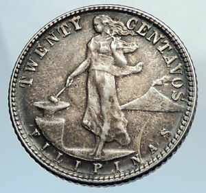 1945 D PHILIPPINES Twenty Centavos United States of America Silver Coin i74371