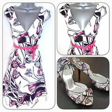 Karen Millen DG226 Tulip Floral Print Evening Occasion Dress 10 & Shoes UK 6