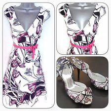 Karen Millen dg226 Tulip Estampado Floral Noche Vestido ocasión 10 & Zapatos Uk 6