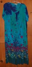 La Cera Floral Dress XL Teal With Short Sleeves,Button Down Front, Tie Back