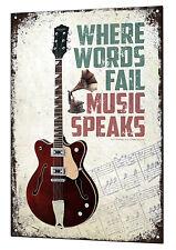 Music Speaks Large Metal Tin Sign Retro Guitar Vintage Plaque Guitar