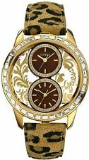 GUESS TAN LEOPAR, LEATHER+GOLD TONE,CLEAR DUAL TIME ZONE+CRYSTAL WATCH U18512L3
