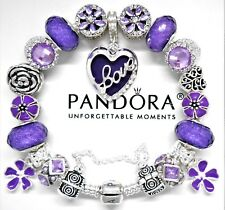 Authentic Pandora Silver Iconic Bracelet With Purple Love Heart European Charms.