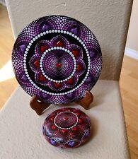 Puffy Heart dot Mandala art Set - Original Art stone and painting
