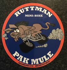Ruttman Mini Bike Decal PAK MULE