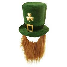 Dark Green St Patrick's Day Novelty Fancy Dress Leprechaun Hat with Beard