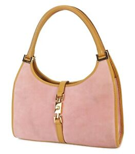 Authentic GUCCI Jackie O Pink Suede and Leather Tote Hand Bag Purse #38926
