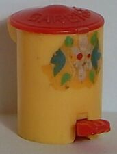 Renwal Dollhouse Vintage Garbage Can Decal Lid Pops Up Yellow Red