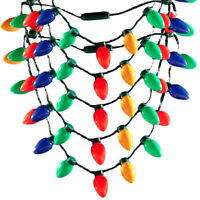 HK- LED Light Up Christmas Bulb Necklace Party Favors for Adults or Kids Holiday