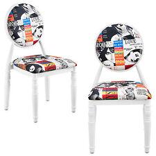 [en.casa] Silla tapizada 2er-Set blanco Patchwork Diseño de colores Retro Sillón