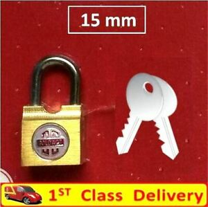 15mm Padlock Lock Gold Brass For Doors Cupboards Drawers Cabinet Cases - W202