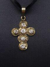 Ancienne petite croix régionale en or 18K et diamants taille ancienne 0,60ct