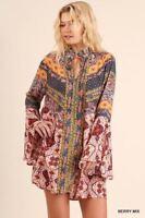 UMGEE boho printed Dress bell sleeve Swing A-line ruffle mini tunic SML Plus