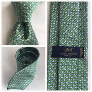 346 Brooks Brothers Light Green/Blue Geometric Woven Silk Woven USA TIE EUC