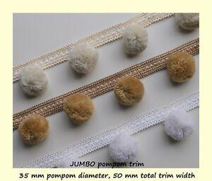 UNIQUE JUMBO POM POM Trim - VERY large pompoms 35 mm, total width 50 mm