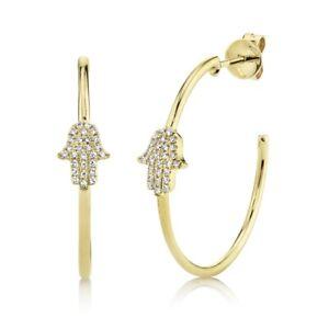 Hamsa Hand Diamond Hoop Earrings 14K Yellow Gold Round Cut Pave Natural 0.12 TCW