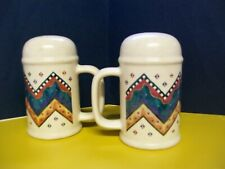 Treasure Craft Salt and Pepper Shakers; large vintage shaker set with handles
