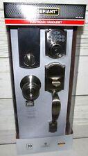 New Defiant Castle Satin Nickel Electronic Deadbolt Door Handle Set  Keypad Lock
