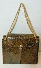 New ListingVintage Brown Leather Crocodile Purse Alligator Handbag Lined Shoulder Bag
